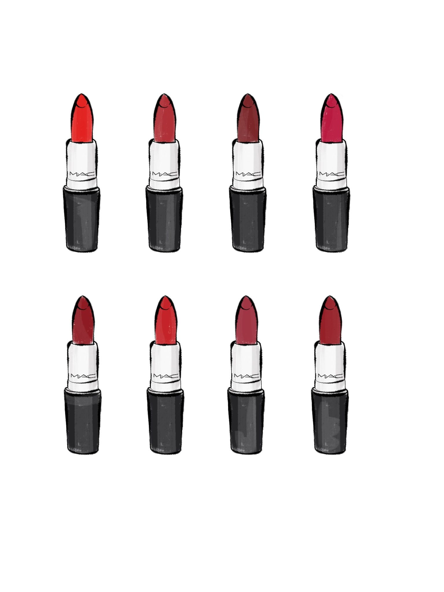 MAC lipsticks illustration www