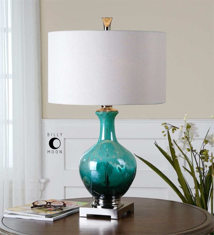 Uttermost Yvonne Green Blue Glass Table Lamp for the living room ...