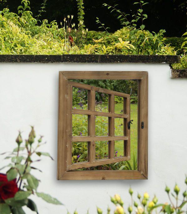 Wooden Illusion Garden Glass Mirror Gate Outdoor Large Perspective Door Effect
