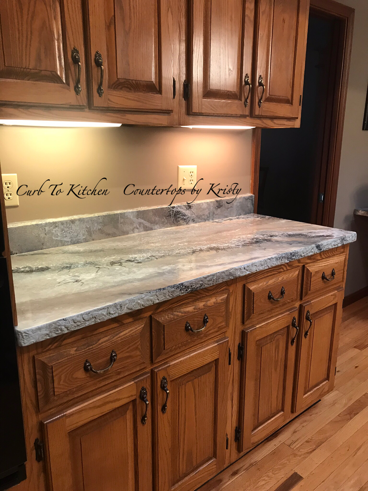Your Old Laminate Countertops With A Concrete Overlay Painted To