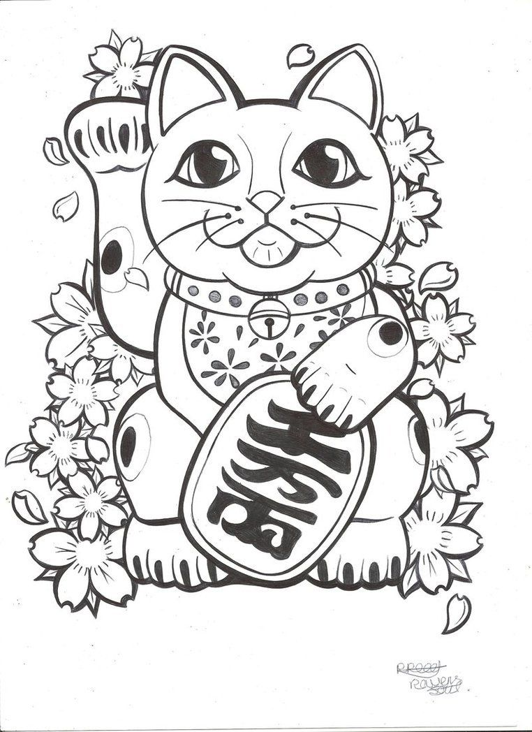 Anime Cat Coloring Pages Google Search Oosterse Tattoo Japanse Tatoeages Manekineko