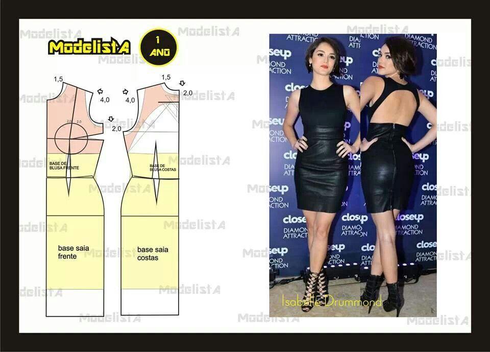 Cutout back sheath dress | patrones de vestidos | Pinterest | Molde ...