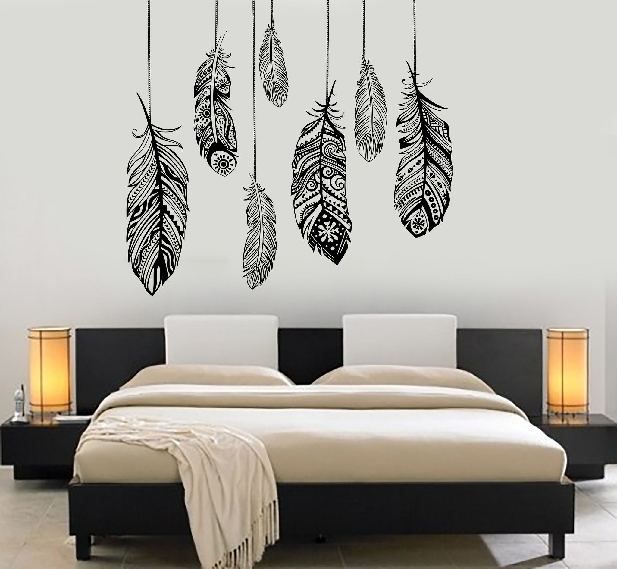 Wall vinyl decal feather romantic bedroom dreamcatcher for Bedroom wall art