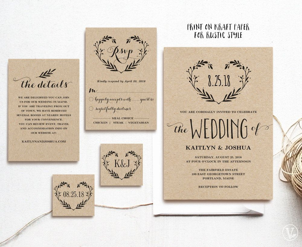 This wedding invitation set includes five high resolution ...