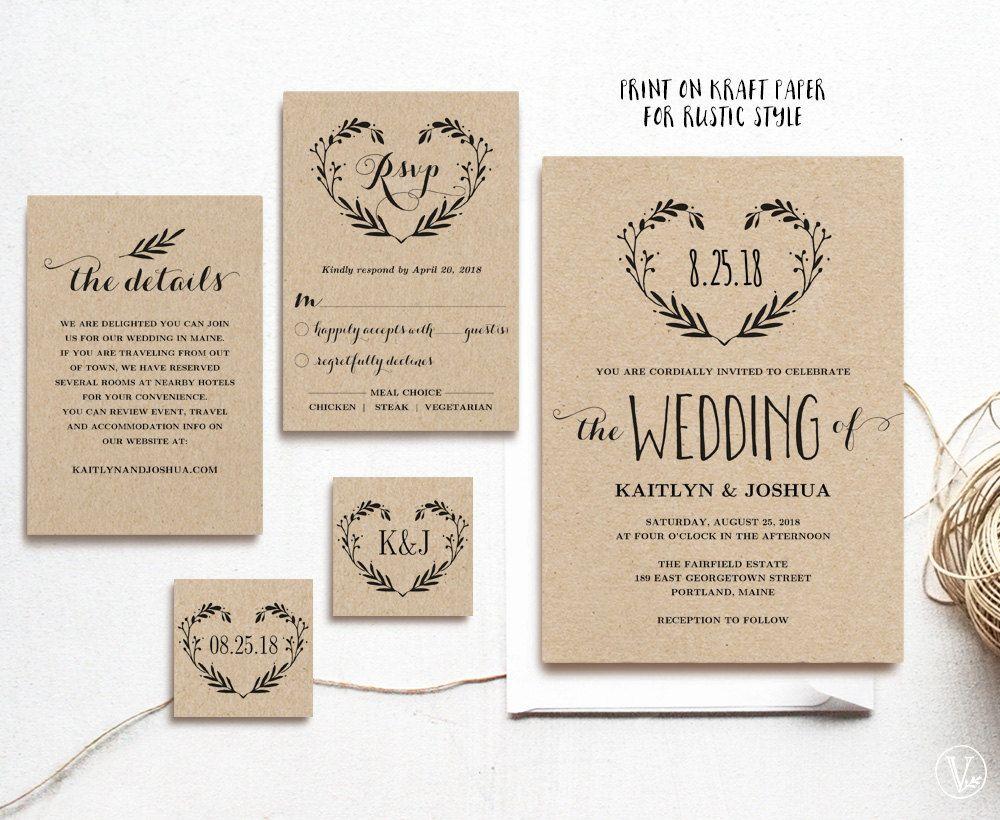 Rustic Wedding Invitation Set, Printable Wedding Invitation Template ...