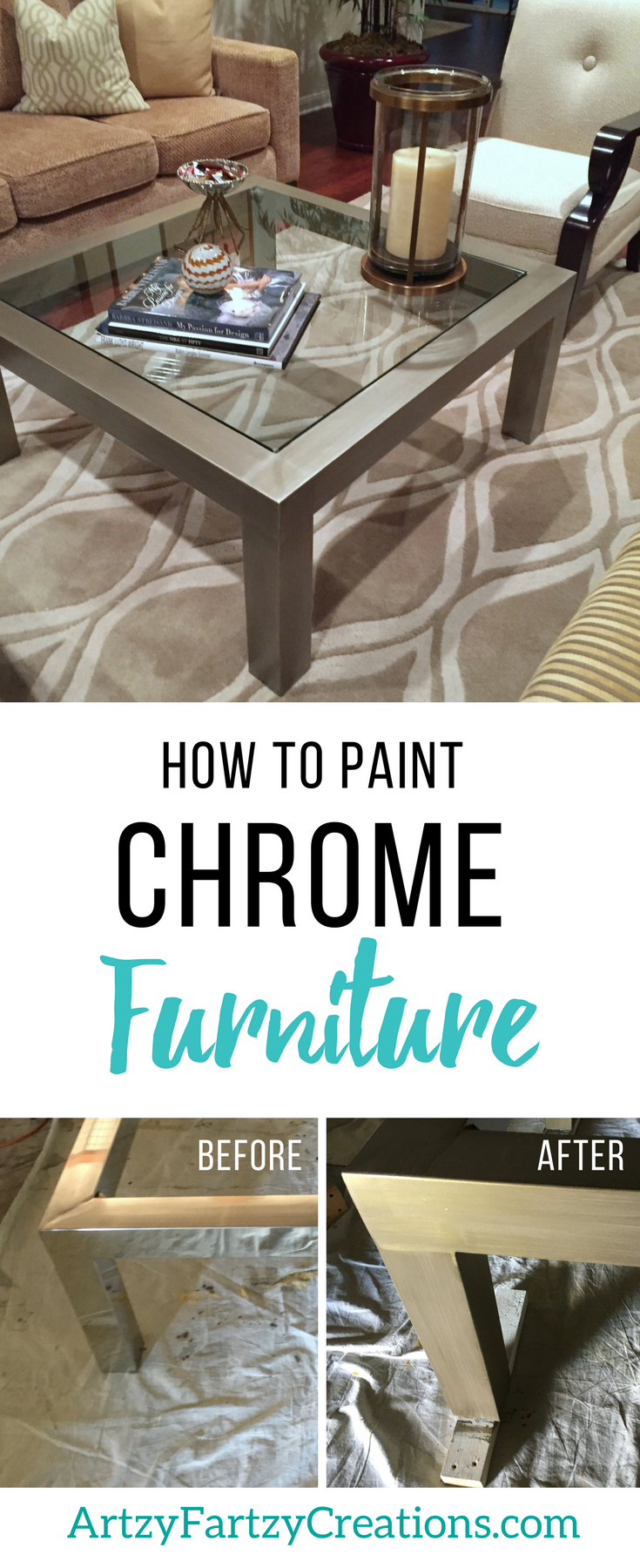 How To Paint Chrome Furniture By Cheryl Phan | Furniture Painting Ideas |  Metallic Furniture Finish