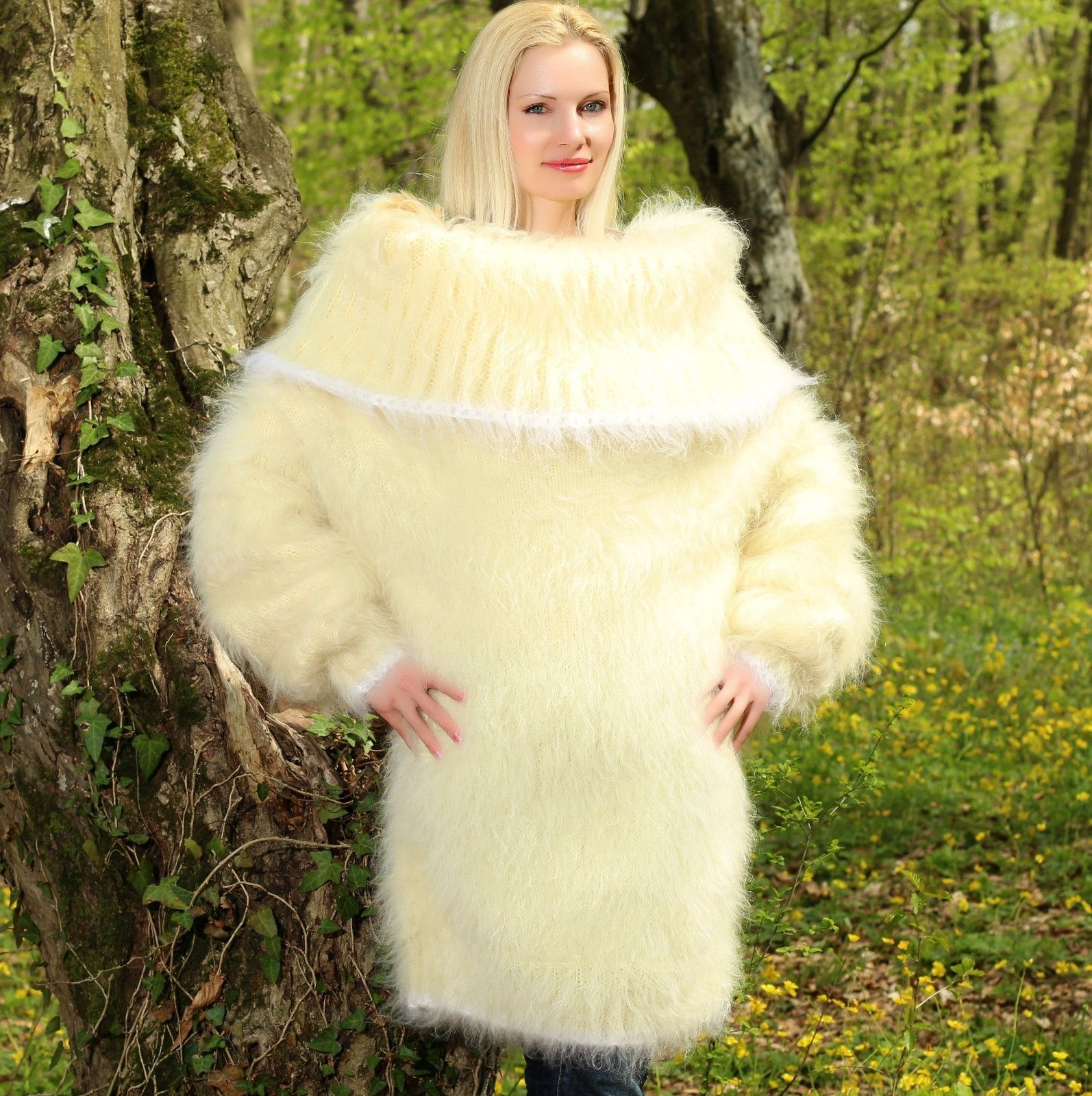 Details about SUPERTANYA IVORY Hand Knitted Mohair Sweater Fuzzy ...