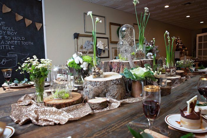 Dining Table Decor Tablescape From A My Little Cinnabun Rustic Glam Baby Shower Via Karas Party Ideas KarasPartyIdeas 32