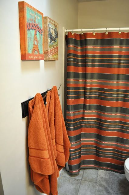 Burnt Orange Towels And Shower Curtain Boys Bathroom Bathroom Kids Burnt Orange Curtains