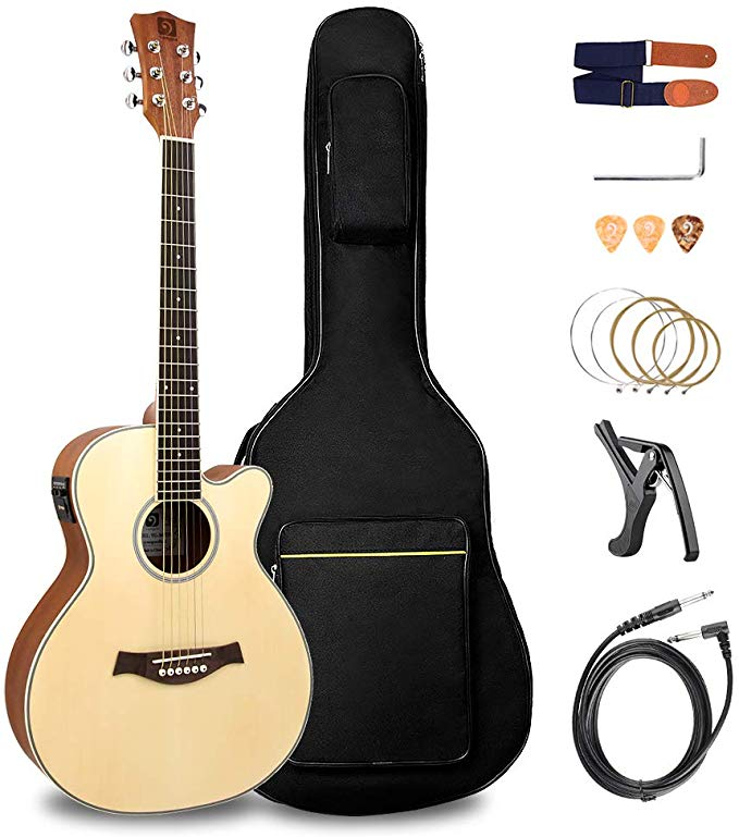 Acoustic Guitar Electric Cutaway 36 Inch 3 4 Travel Guitar Kit With Truss Rod Wrench An Electric Guitar Accessories Acoustic Electric Guitar Guitar Accessories