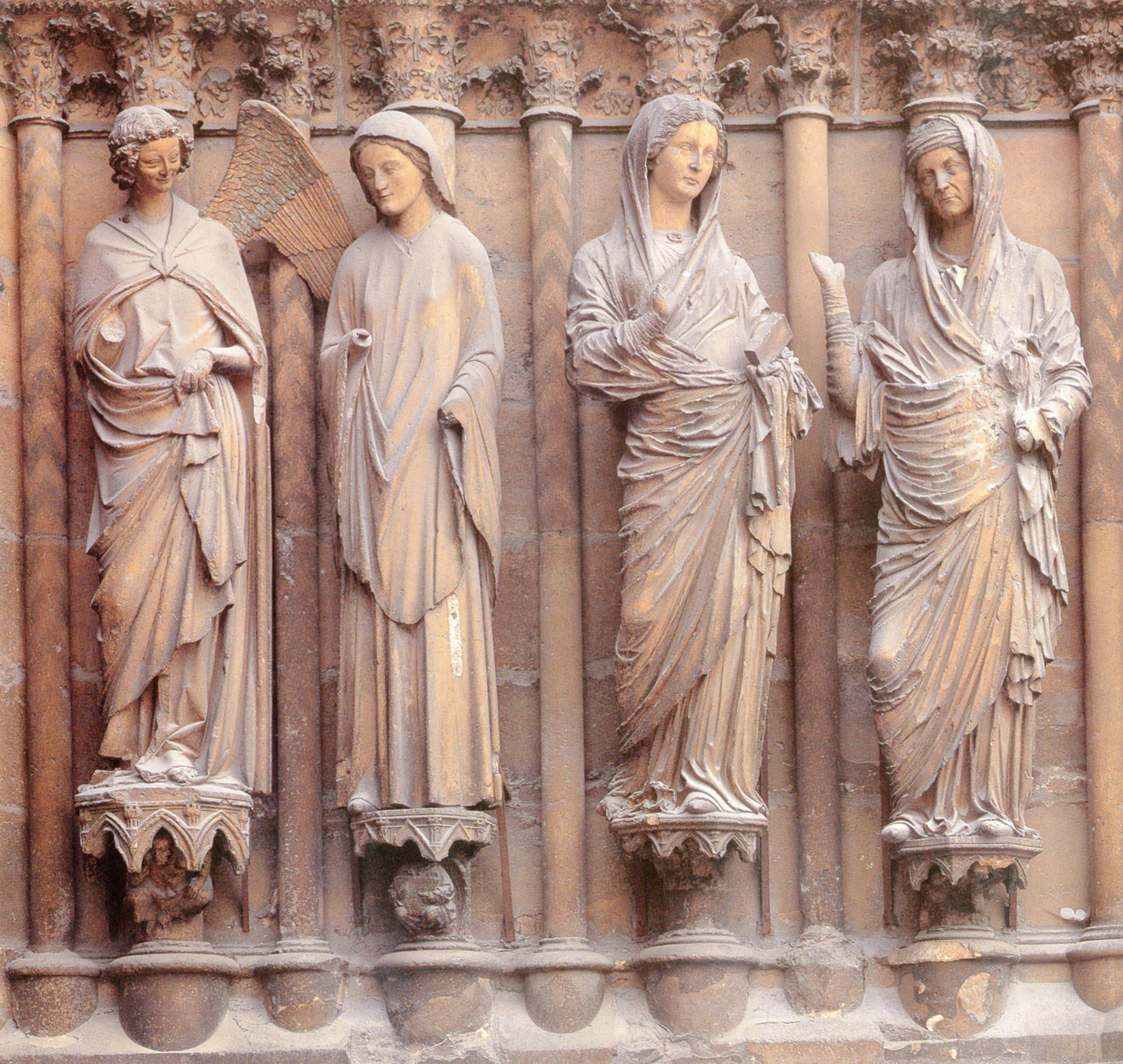 Annunciation And Visitation Jamb Statues Of Central Doorway West Facade Reims Cathedral France Ca 1230 1255 CE Gothic
