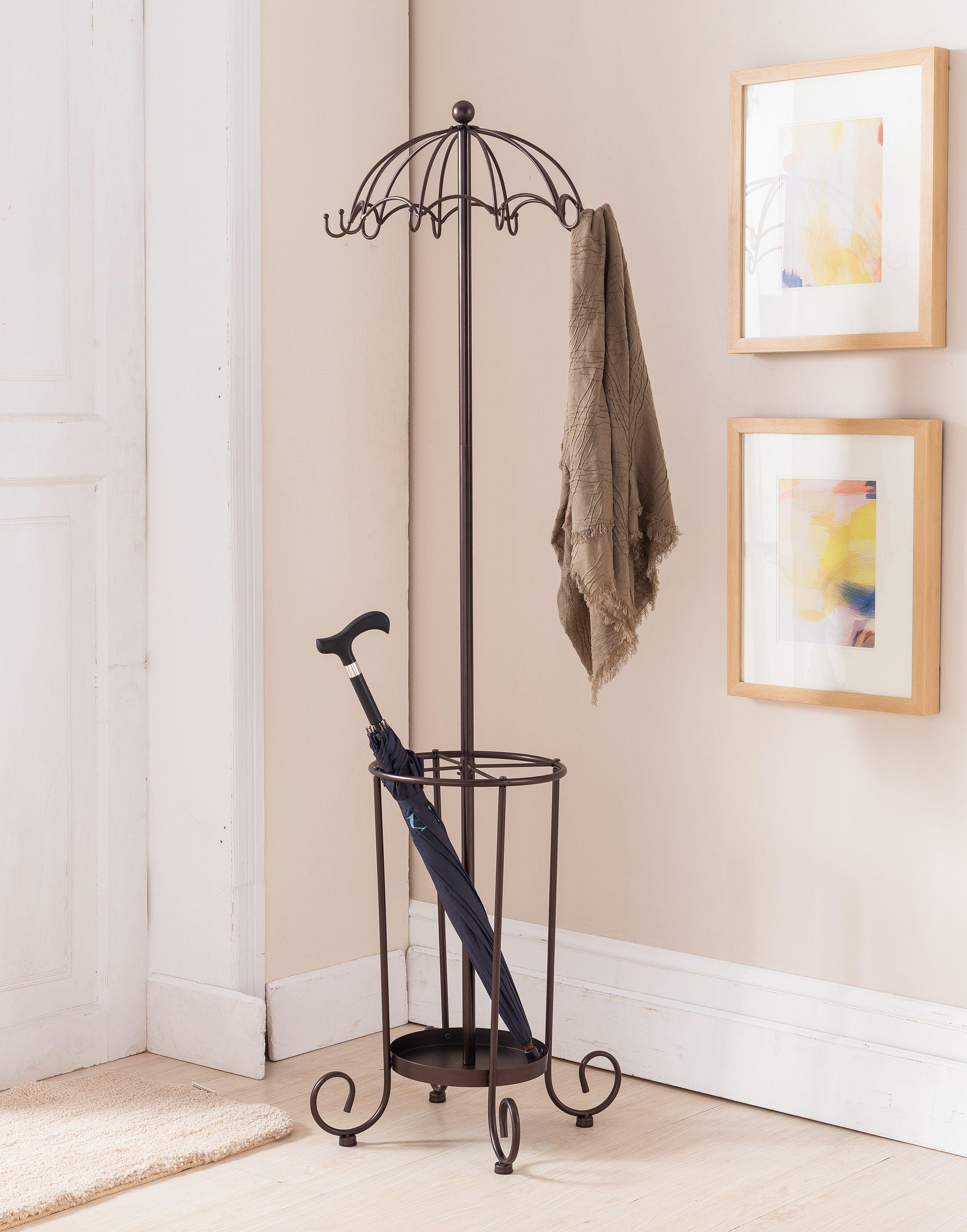 Burgess Metal Bronze Traditional Umbrella Style 10 Hook Hat Coat Rack Stand With Umbrella Holder Walmart Com Standing Coat Rack Coat Rack Diy Coat Rack