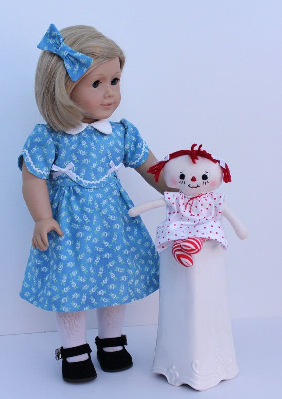 1930s+Blue+Dress+and+Raggedy+Ann+For+American+by+BrooksideLane,+$52.00