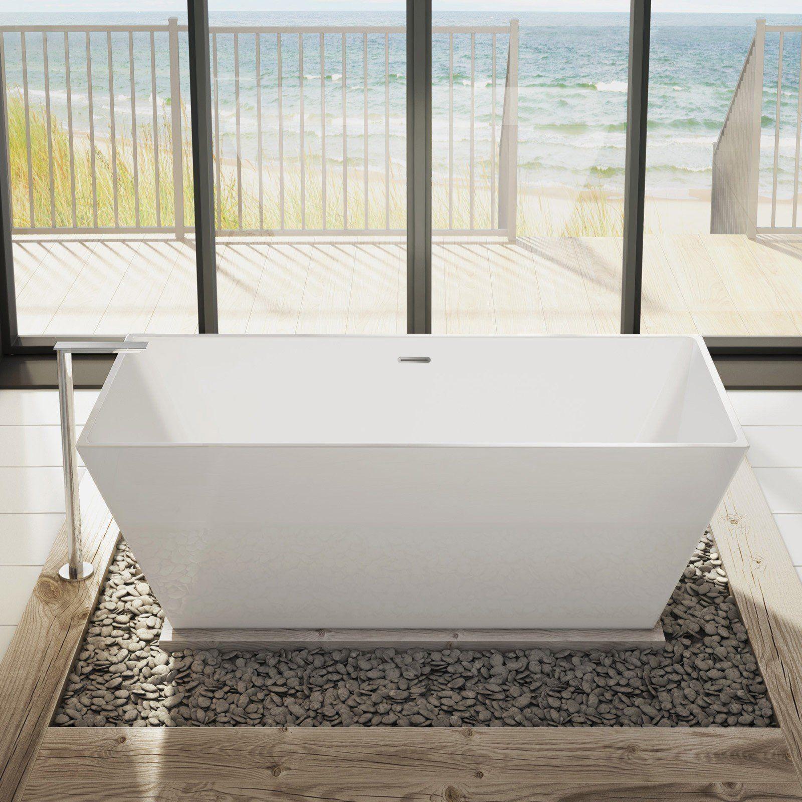 Aria Calando Petite 56 Inch Acrylic Double Ended Freestanding Bathtub Free Standing Bath Tub Vintage Tub Contemporary Tub