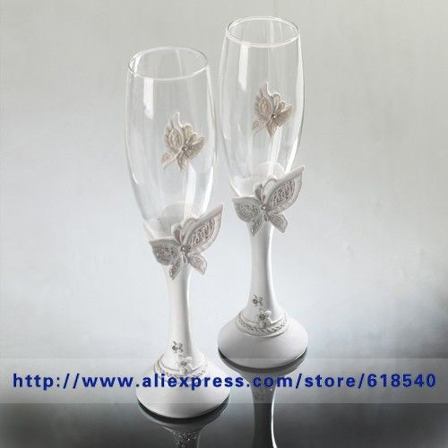 Free Shipping Butterfly Wedding Toasting Flutes Champagne Glasses Decoration Supplies All For