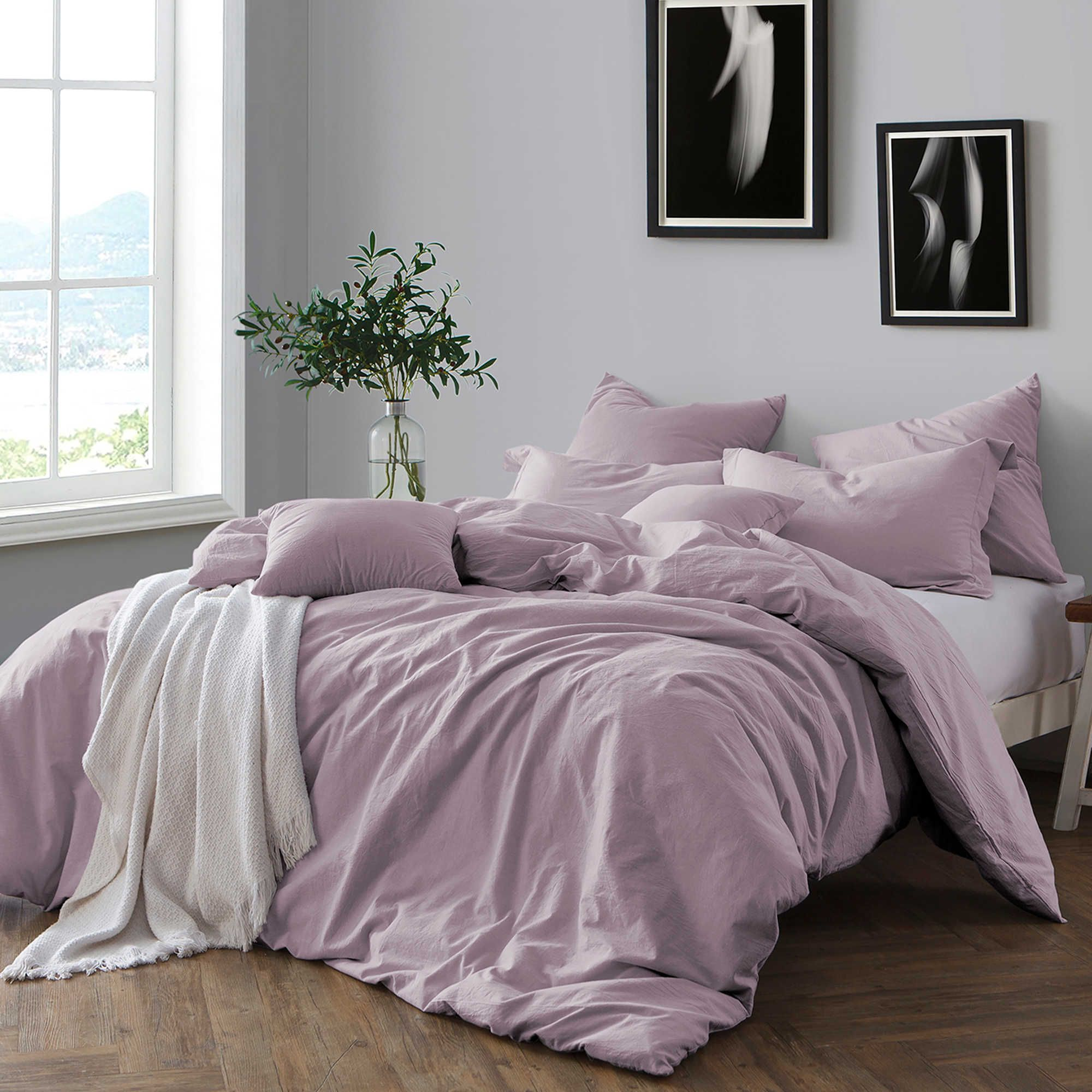 Swift home prewashed yarn dyed full queen duvet cover set in lavender