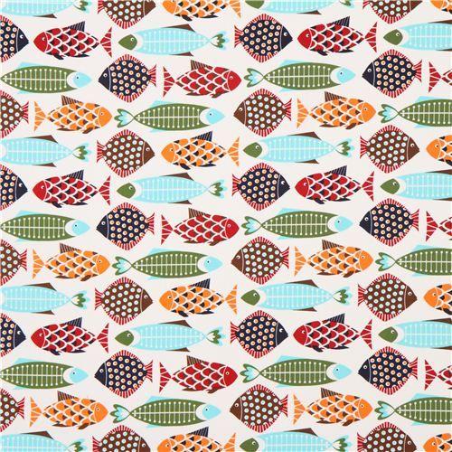 cotton fish fabric white - Google Search