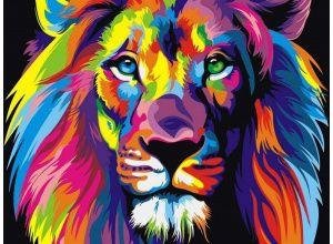 Картина по номерам «Радужный лев» | Картины ...