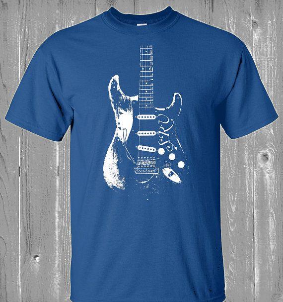 NEW Stevie Ray Vaughan Guitarist Mens Short Sleeve T-Shirt Black Cotton Tee