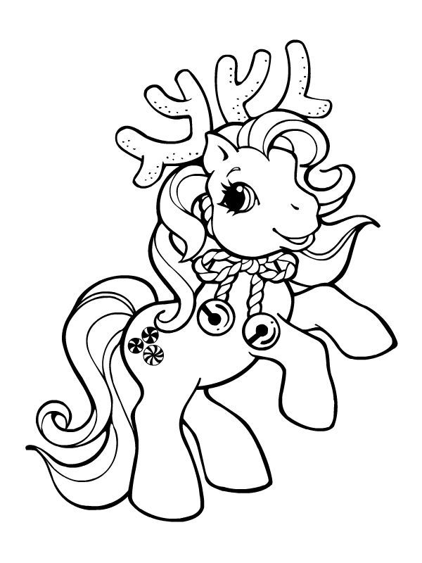 Reindeer Pony Horse Coloring Pages Christmas Coloring Pages