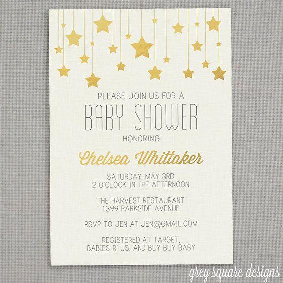 Baby Shower Invitation Gold Stars By Greysquare On Etsy 12 00