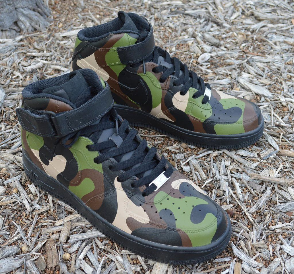 Camo Nike Air Force 1 Mids - Painted Camouflage Pattern | Nike air ...