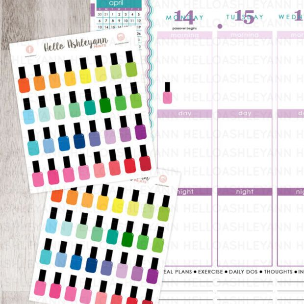 32 Rainbow Nail Polish Stickers for YOUR planner! | Erin Condren Planner / Plum Paper Planner / Filofax / Kikki K / Planner