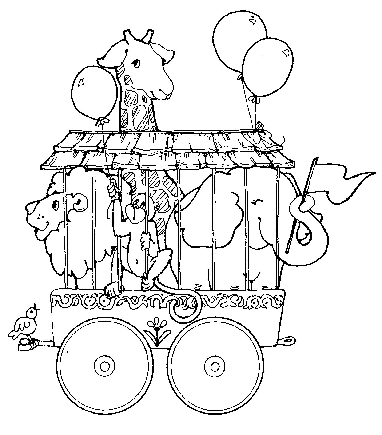 circus train with giraffe lion and elephant coloring page train