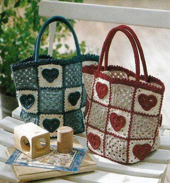 Herz Granny Square Tasche häkeln - crochet bag shopper | Häkeln ...