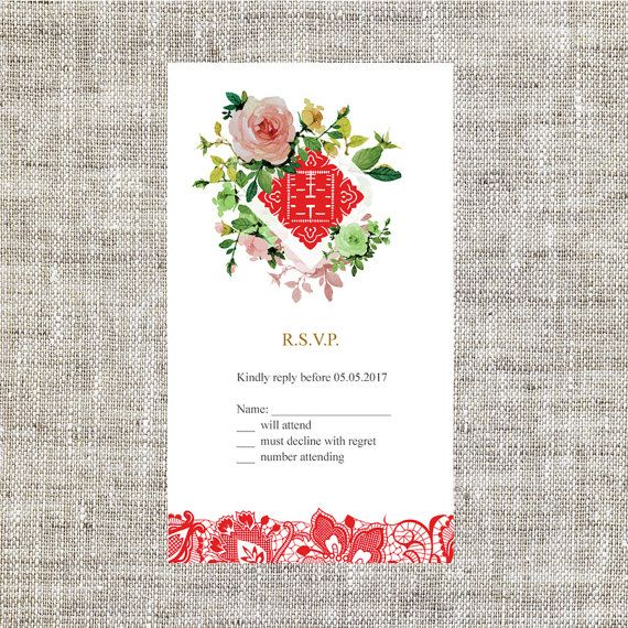 DIY Printable Editable Chinese Wedding Invitation Card RSVP Template Instant Download Water Color Lace Traditional Double Happiness