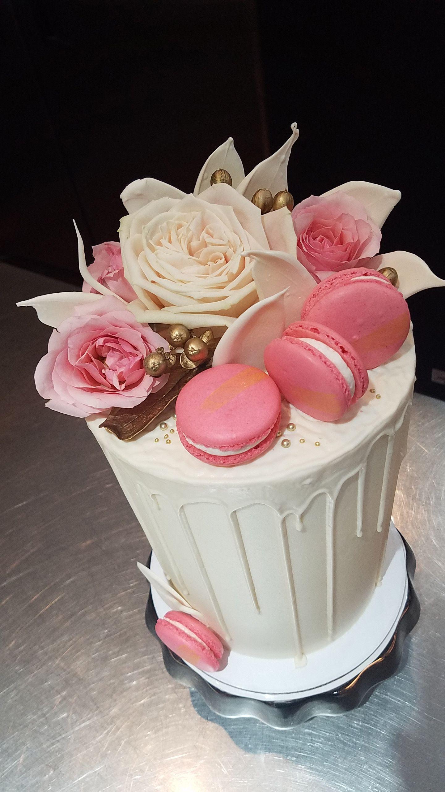 Pink white & gold drip cake | CAKE! | Pinterest
