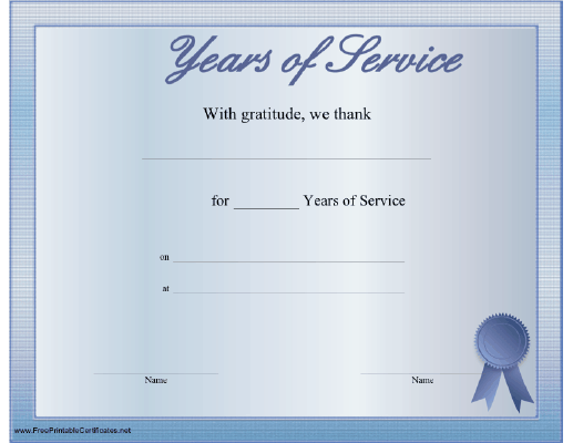years of service award certificate templates - a printable certificate thanking the recipient for any