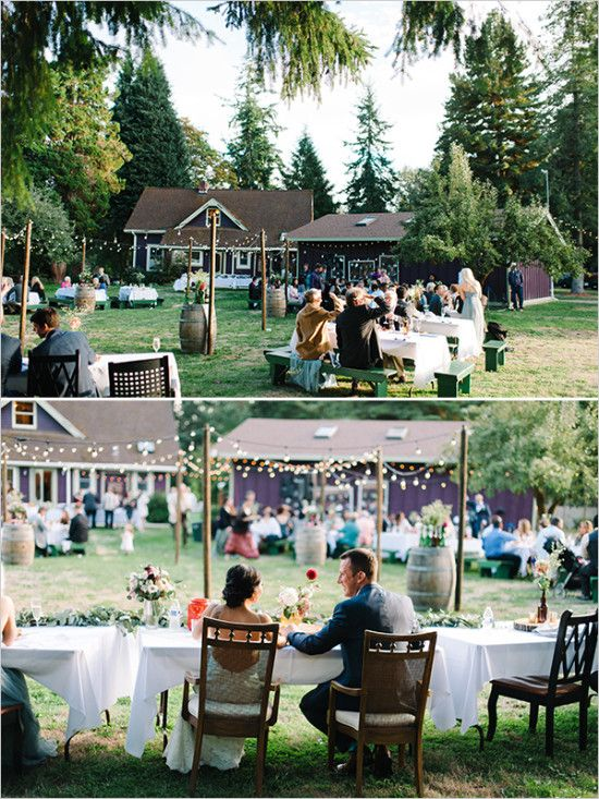 backyard wedding reception @weddingchicks - Beautiful Easy Going Wedding Dream Wedding`````` Pinterest