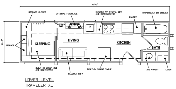 long escape traveler xl tiny house on wheels floorplan - Tiny House Plans On Wheels