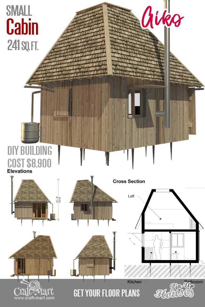 Cute Small Cabin Plans (A-Frame Tiny House Plans, Cottages, Containers) -  Craft-Mart | Small house floor plans, Cute small houses, Building a tiny  house