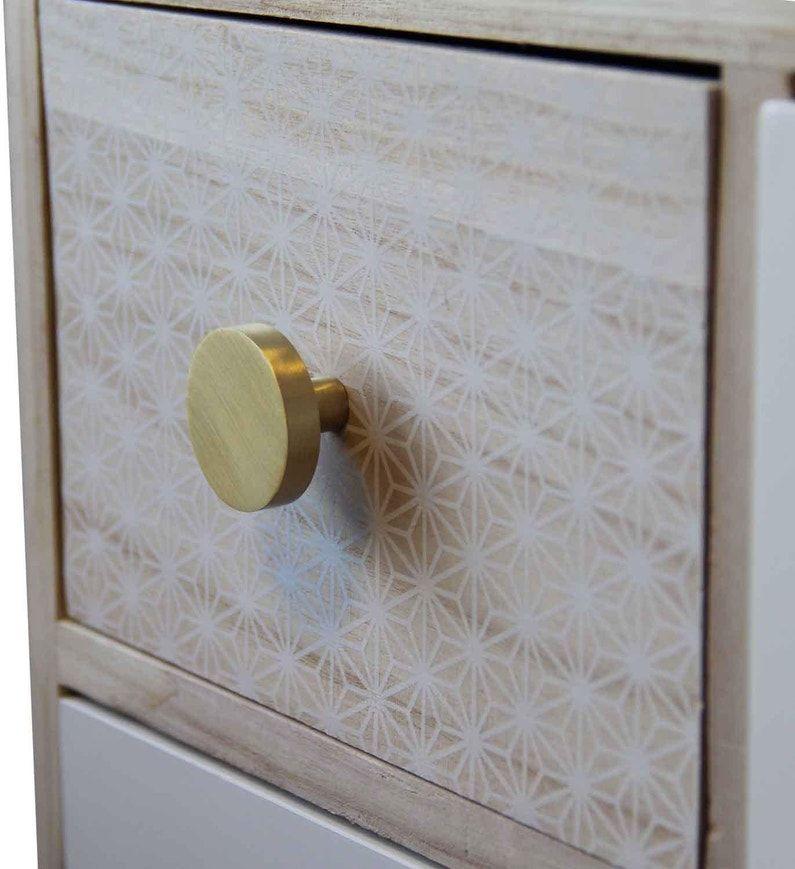 bouton de meuble plat laiton satine