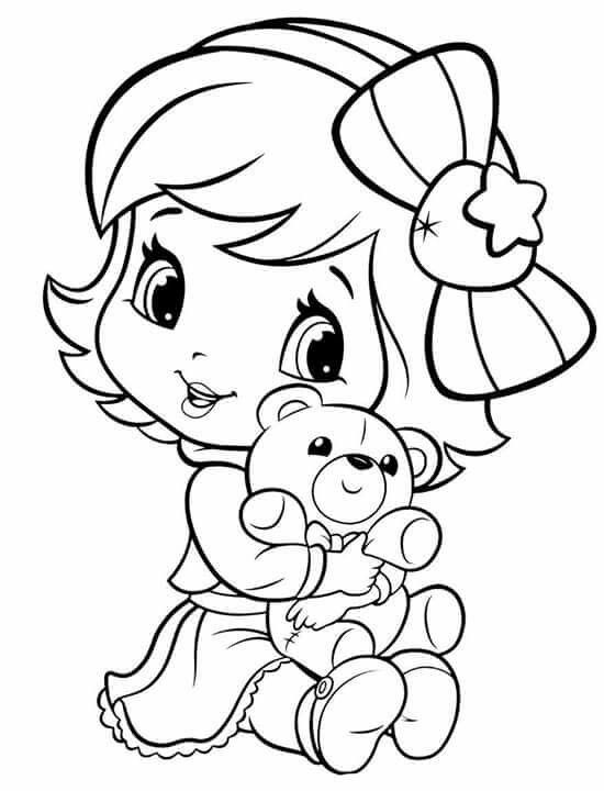Baby Strawberry Shortcake Rocks Cute Coloring Pages Strawberry