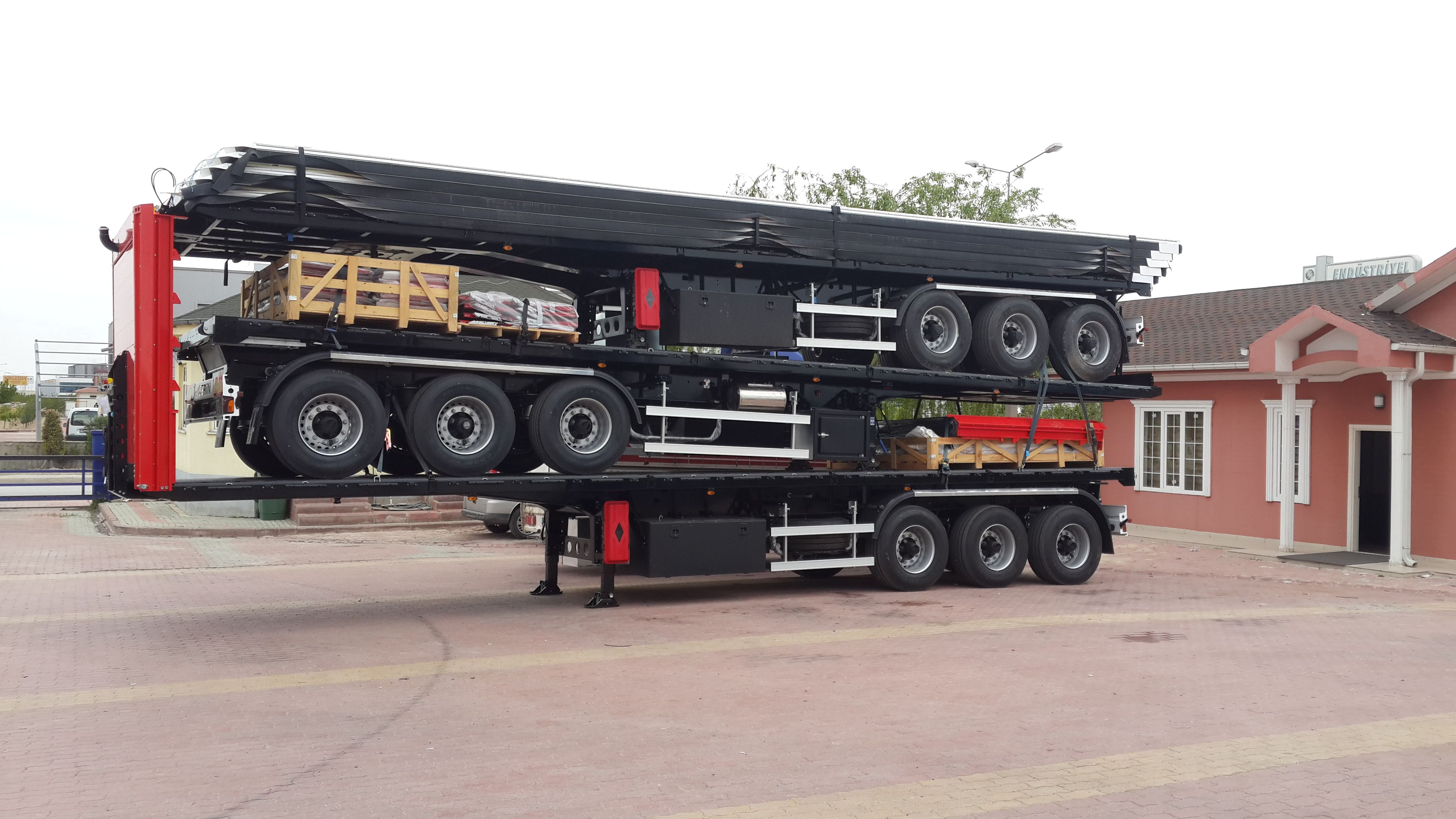 3 Pcs Curtain Side Semi Trailer As One Set Ready For Export