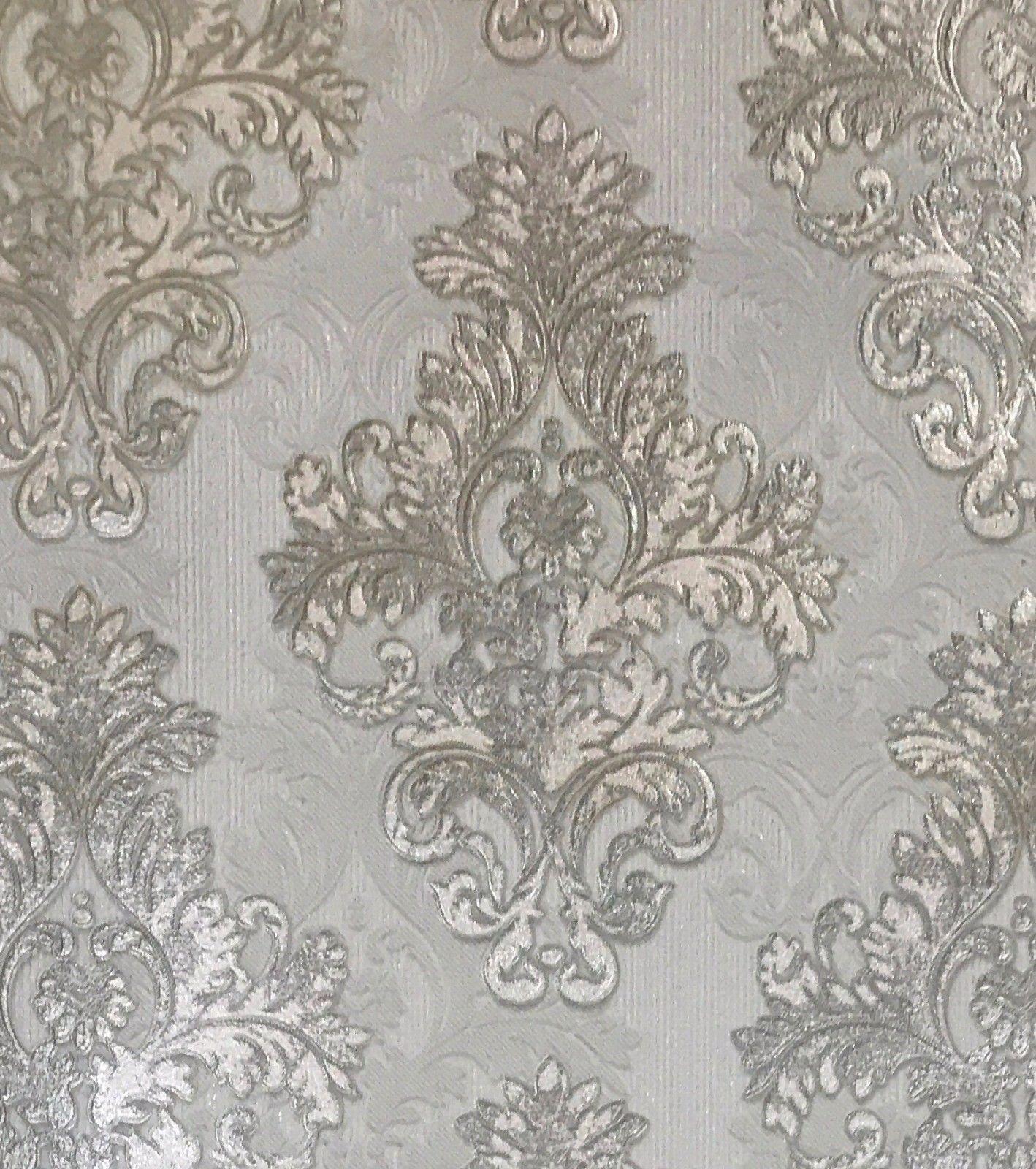 Vintage style paper wallpaper Diamond damask gray beige gold metallic textured