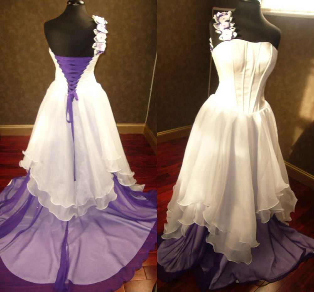 White And Purple Bridal Gowns Gothic Wedding Dresses Corset Lace