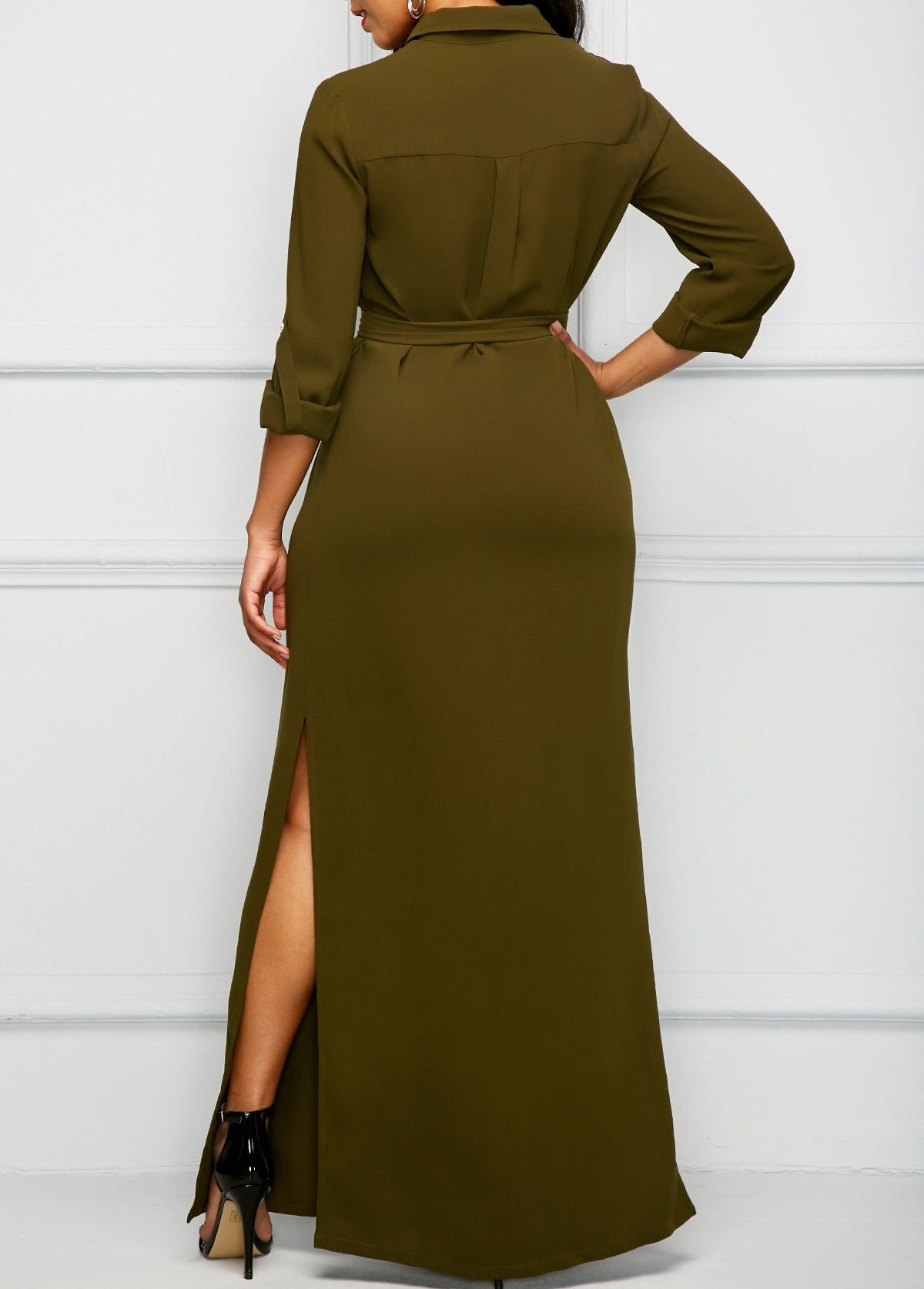 Side Slit Army Green Long Shirt Dress On Sale Only Us4023 Now Buy