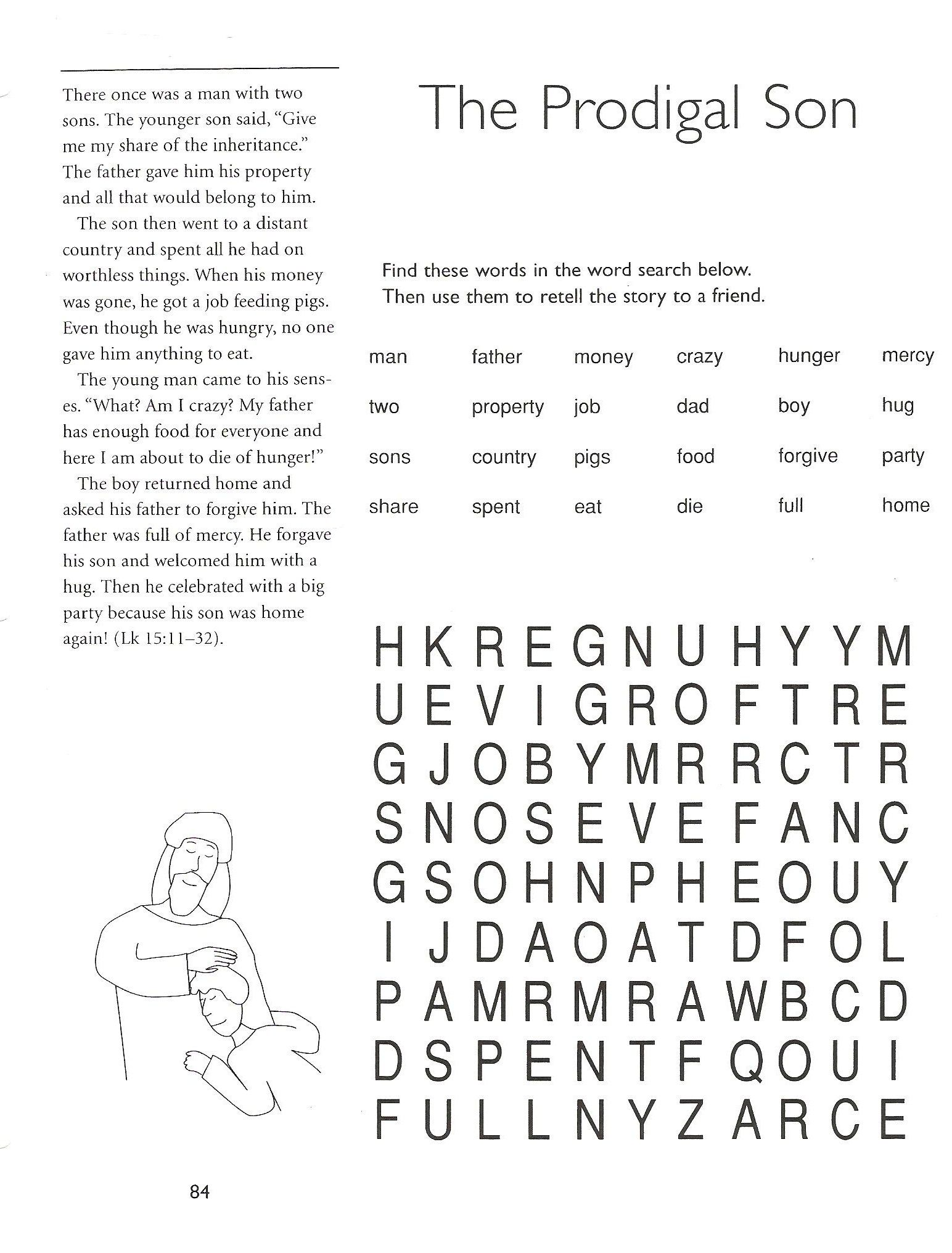 Worksheets Religious Worksheets prodigal son worksheets and puzzles 5th grade catechist resources resources