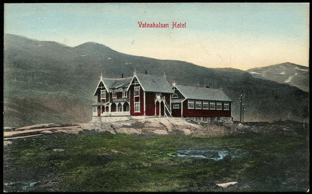 Hordaland fylke Aurland kommune Flåm VATNAHALSEN Hotel. Vanlig motiv, men her i pent fargetrykk Utg Narvesen postg. 1914.