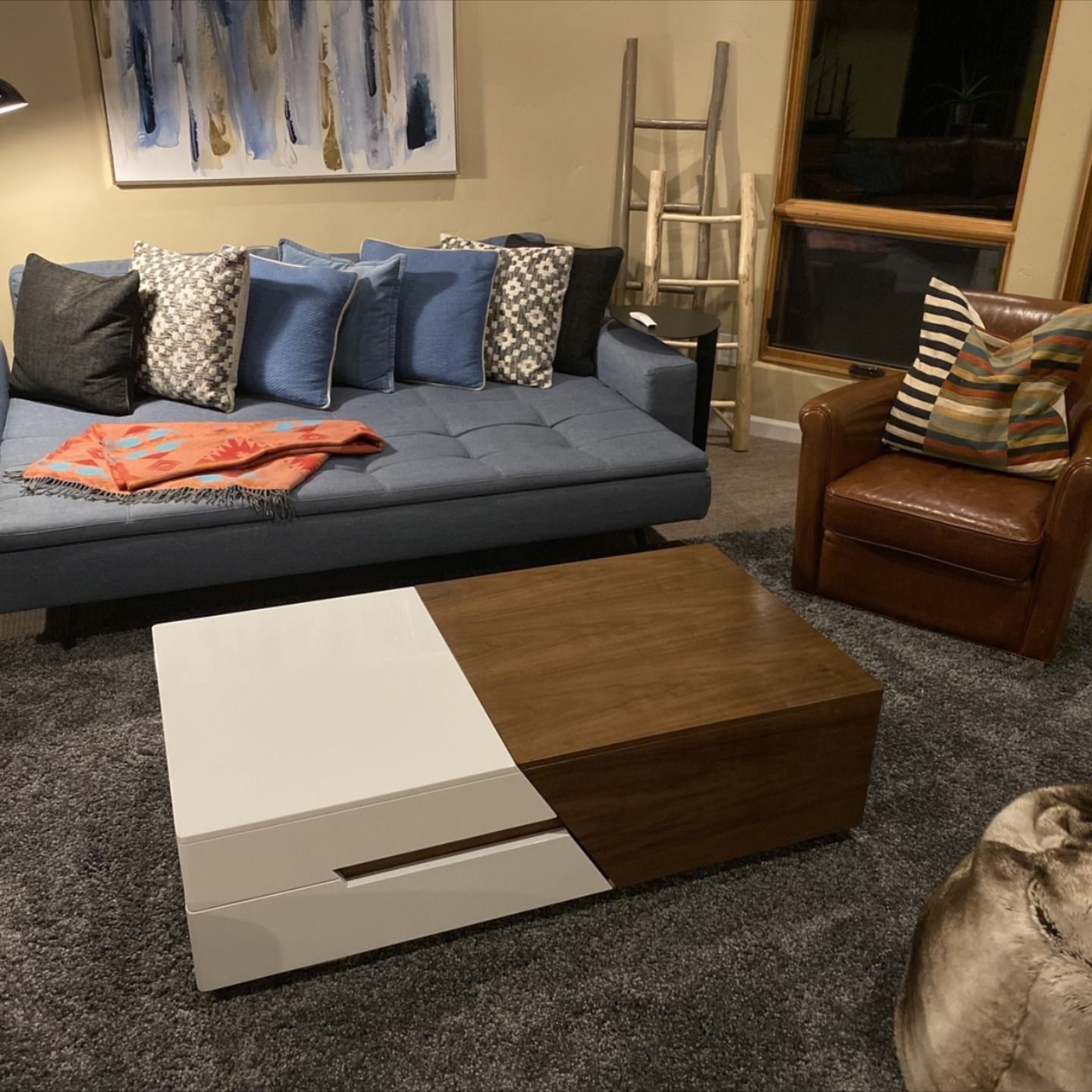 Modern Chic 51 Extendable Coffee Table With Storage Sliding Top Coffee Table Manufactured Wood In White Walnut Extendable Coffee Table Coffee Table With Storage Stylish Coffee Table [ 1440 x 1440 Pixel ]