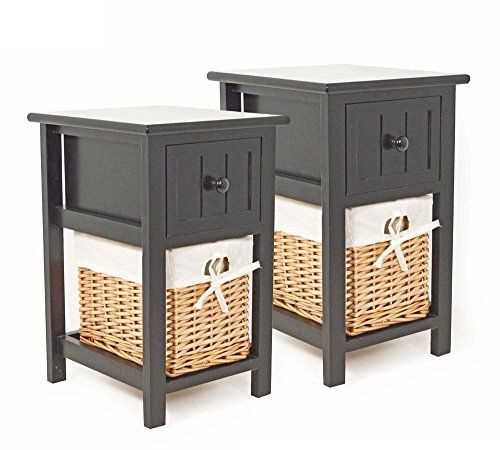 Pair Of Shabby Chic Black Bedside Units With Wicker Storage Sue Ryder Http