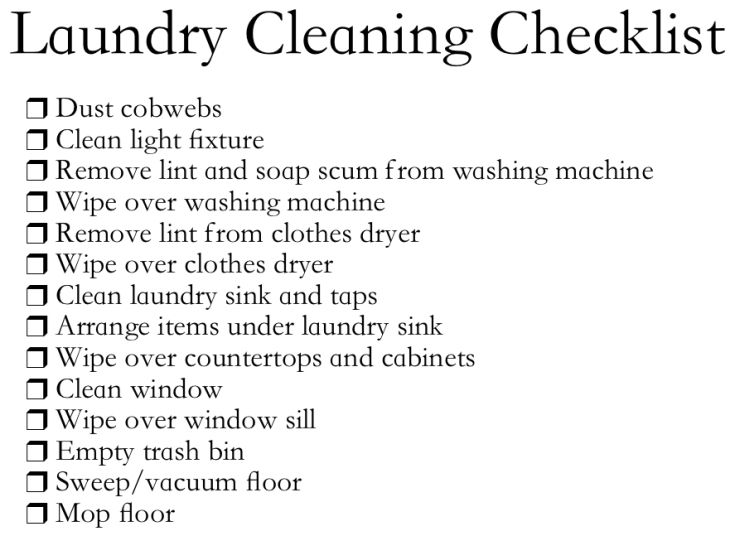 Laundry Cleaning Checklist  Cleaning    Cleaning