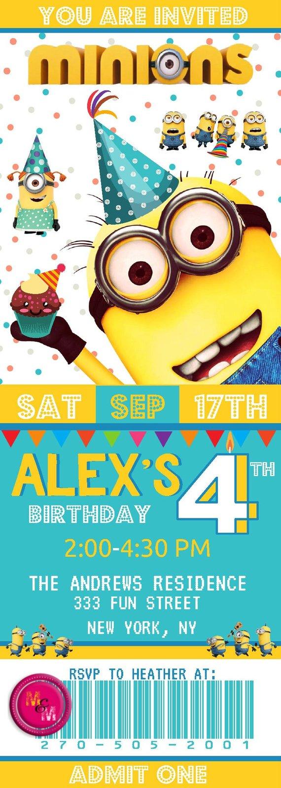 Minions Birthday Party Ticket Invitation Printable Cinema Invita
