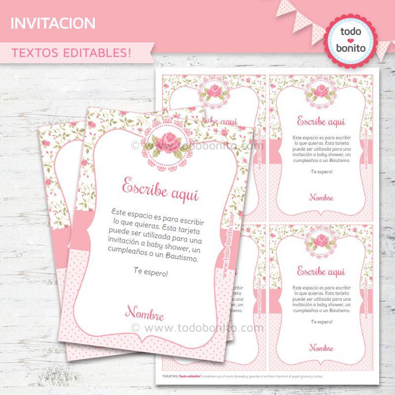 Invitaciones, estampitas, tarjetas Shabby Chic para imprimir | Ideas ...