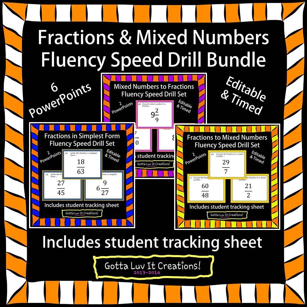 Editable Fractions Fluency 6 Powerpoints
