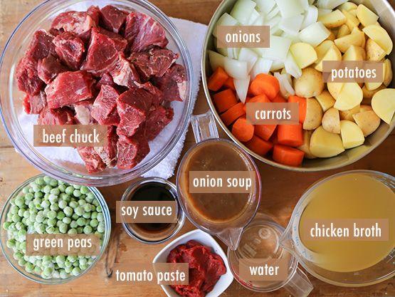 Slow Cooker Beef & Potato Stew // ingredients